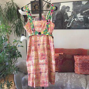 VIOLA sz 2 Anthropologie Pink & Green Print Dress